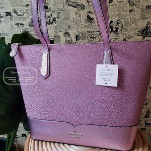 Kate Spade Large Lola Glitter Tote Pink Rose Bag